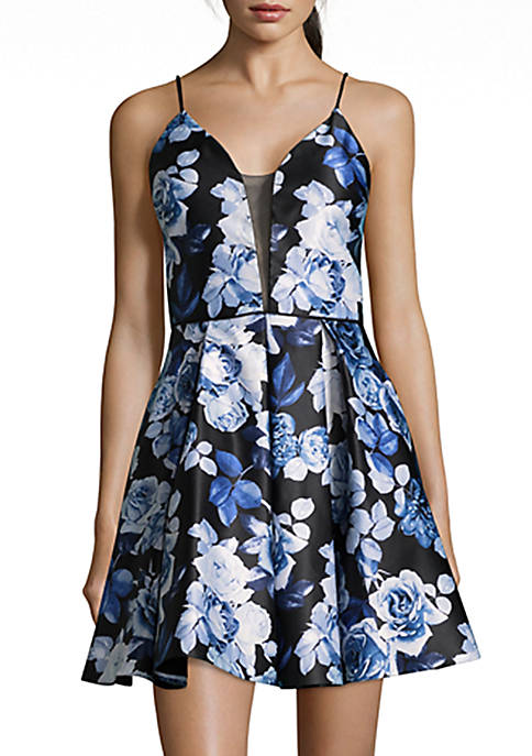 Betsy & Adam Short Floral Cocktail Dress
