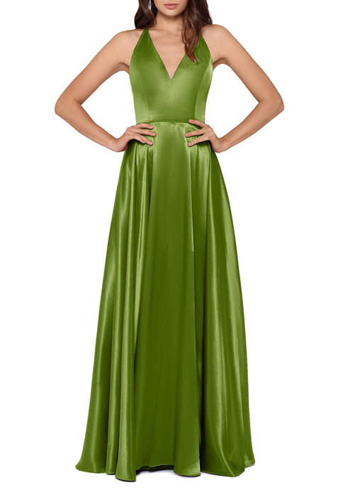 Betsy & Adam Womens Sleeveless Deep V-Neck Satin