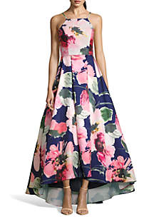 Betsy & Adam Floral Printed High Low Halter Ball Gown