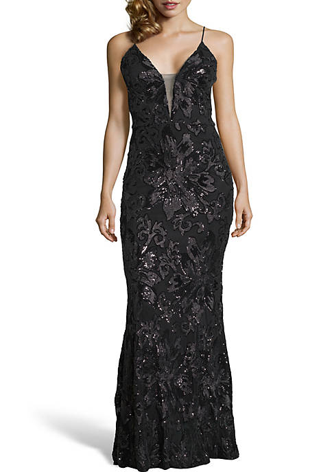 Betsy & Adam Long Sleeveless Sequin Gown