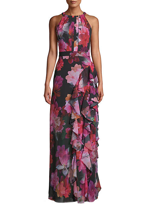Betsy & Adam Sleeveless Printed Ruffle Maxi Dress