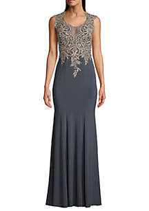 Betsy & Adam Embroidered Bodice Jersey Gown