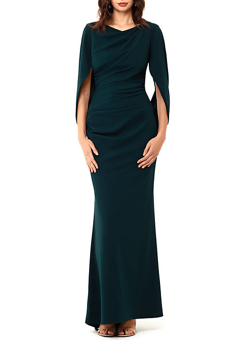 Betsy & Adam Drape Neck Gown
