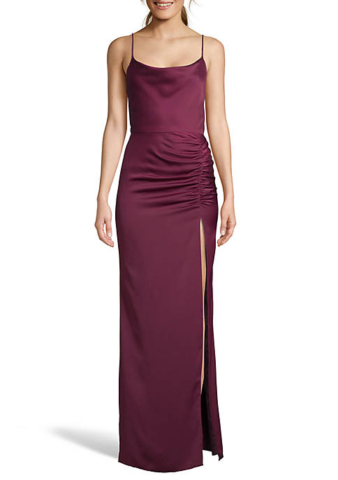 Betsy & Adam Drape Neck Side Ruched Gown