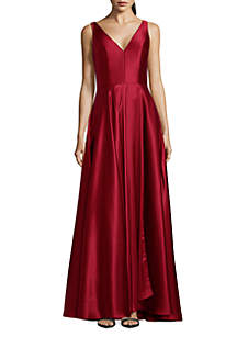 Betsy & Adam Sleeveless A Line Gown