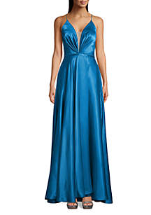 Betsy & Adam Deep V Neck Lace Up Back Gown
