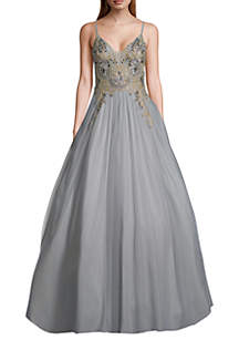 Betsy & Adam Beaded Embroidered Bodice Tulle Ballgown