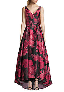 Betsy & Adam Floral Printed High Low Hem Satin Ball Gown