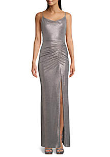 Betsy & Adam Sleeveless Ruched Metallic Gown