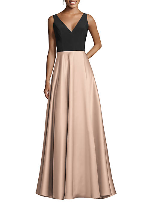 Betsy & Adam Sleeveless 2 Tone Gown