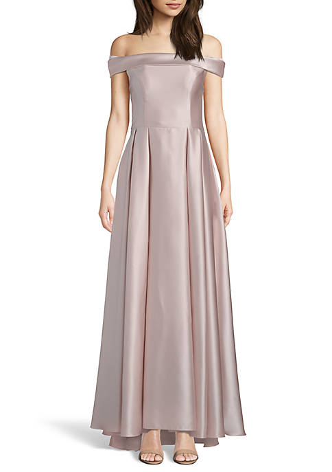 Betsy & Adam Off the Shoulder Satin Ballgown