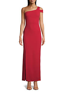 Betsy & Adam One Shoulder Crepe Gown