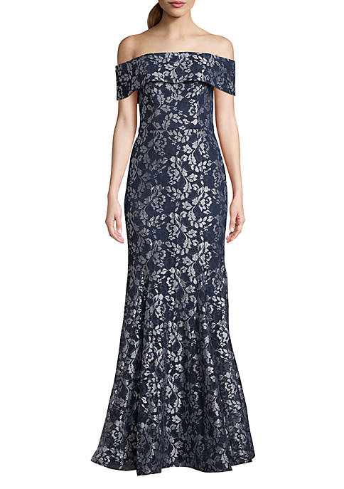 Betsy & Adam Off the Shoulder Lace Mermaid