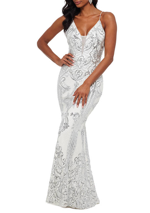 Betsy & Adam Womens Sequin V-Neck Mesh Gown