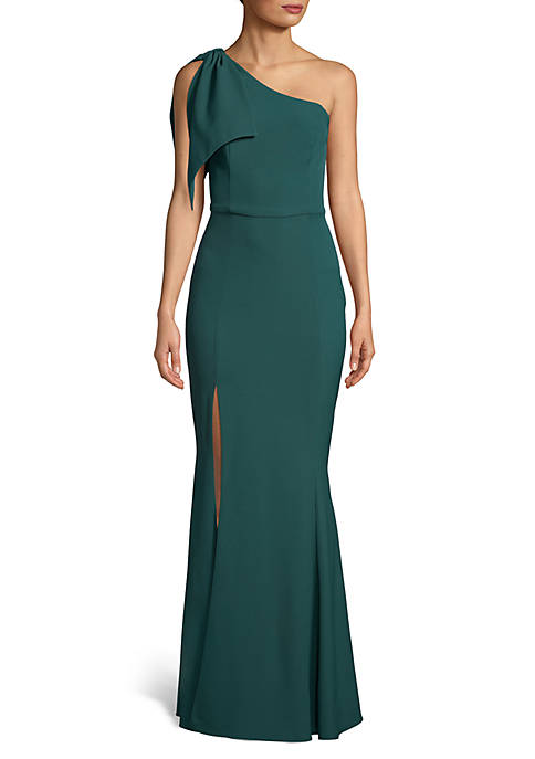 Betsy & Adam Sleeveless One Shoulder Gown