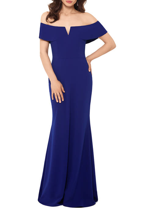 Womens Crepe Off The Shoulder Mermaid Gown