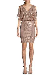 Betsy & Adam Short Sleeve V Neck Embroidered Sequin Cocktail Dress