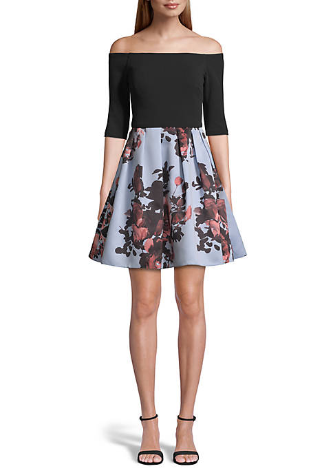 Betsy & Adam Off the Shoulder Printed Skirt