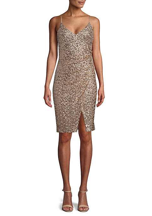 Betsy & Adam Sequin Mesh Cocktail Dress