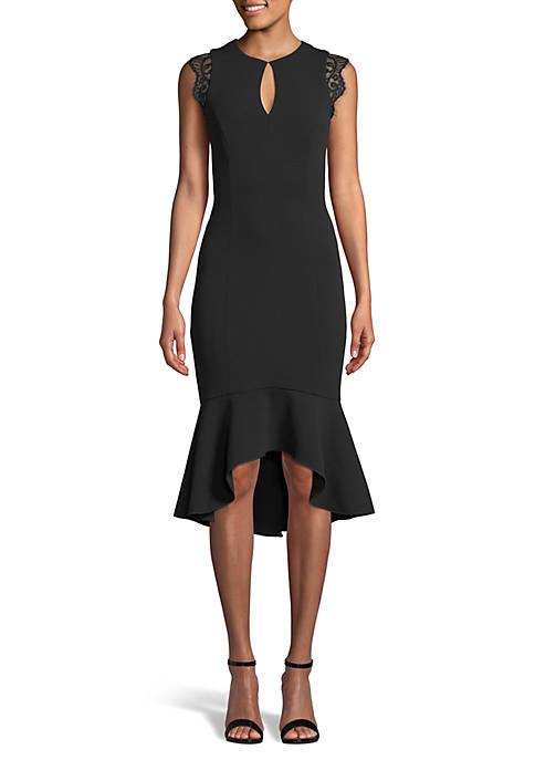 Betsy & Adam Lace Shoulder Flounce Dress