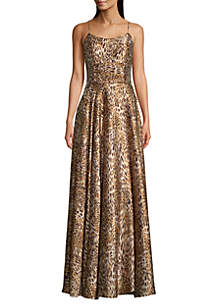 Betsy & Adam Satin Animal Print Gown