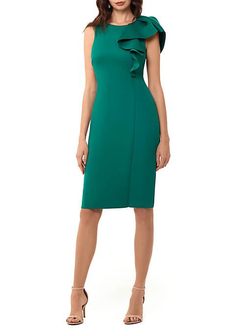 Shoulder Ruffle Short Sheath Dress