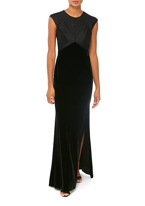 Betsy & Adam Womens Cap Sleeve Velvet Gown