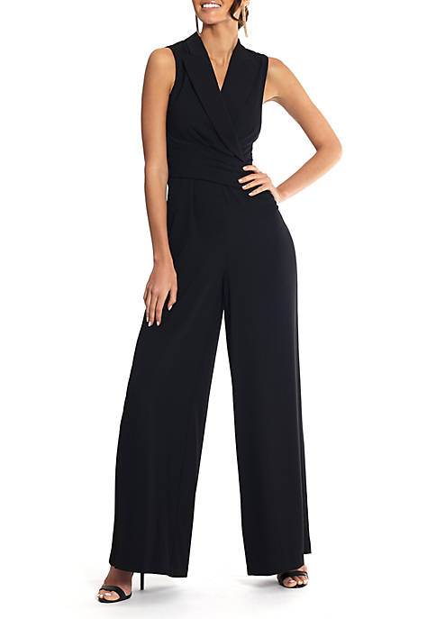 Betsy & Adam Solid Sleeveless Crepe Jumpsuit