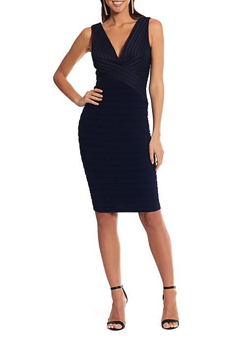Betsy & Adam Sleeveless V Neck Solid Sheath