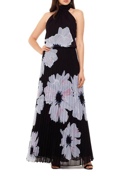 Betsy & Adam Womens Halter Floral Pleat Gown