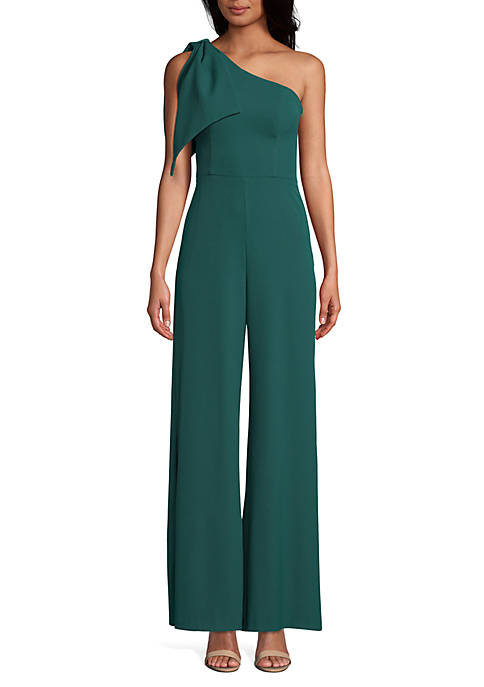 Betsy & Adam One Shoulder Tie Jumpsuit