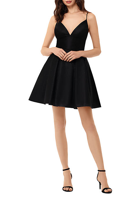 Sleeveless Sweetheart Neck Sparkle Fit and Flare Dress