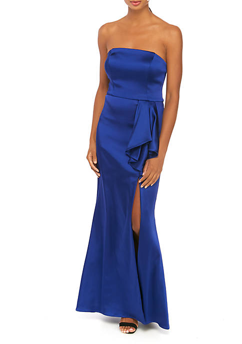 Betsy & Adam Womens Strapless Satin Gown