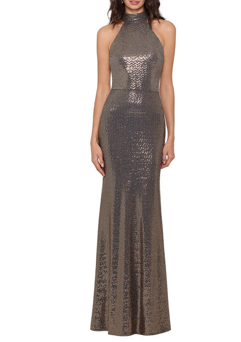 Womens Halter Sequin Long Knit Gown