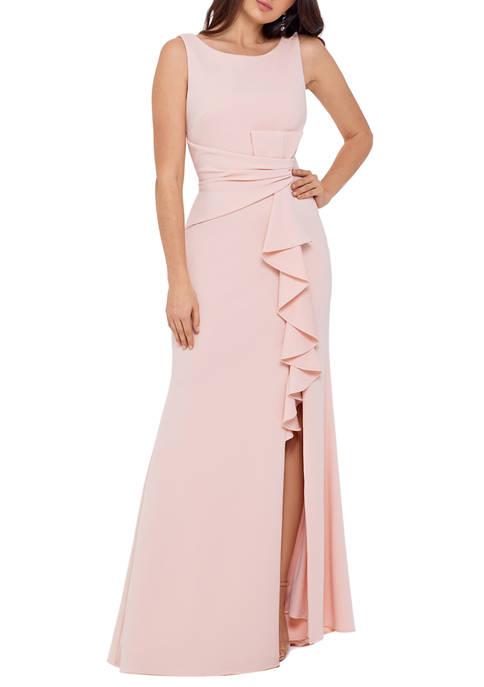 Womens Sleeveless Side Ruffle Gown