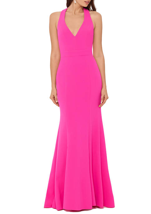 Womens Deep V-Neck Bow Back Gown