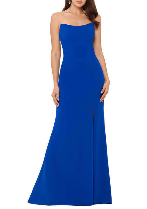 Womens Strapless Solid Gown