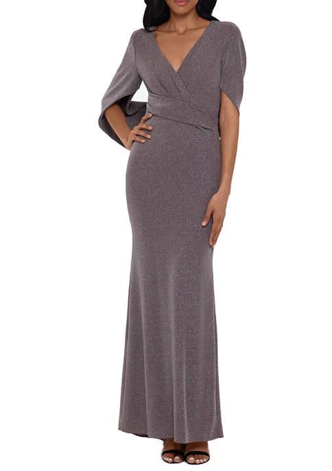 Womens V-Neck Wrap Waist Glitter Shawl Gown