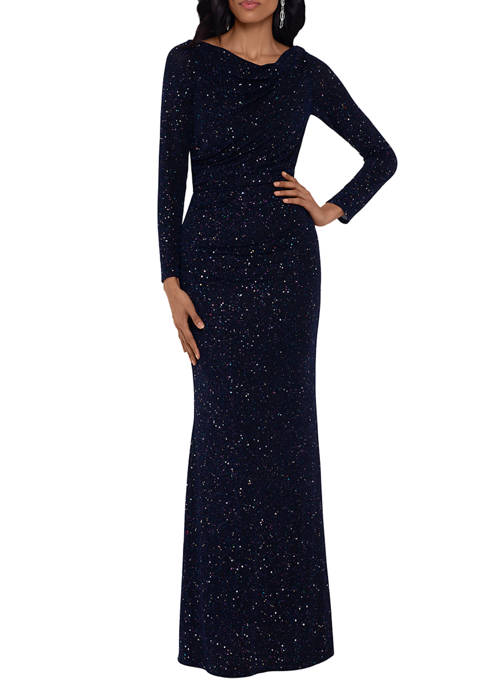 Betsy & Adam Womens V Back Ruched Gown