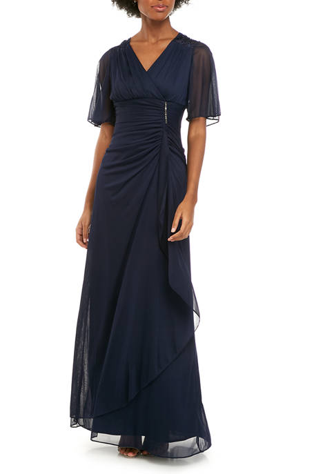 Womens Lace Back Side Ruched Embroidered Gown