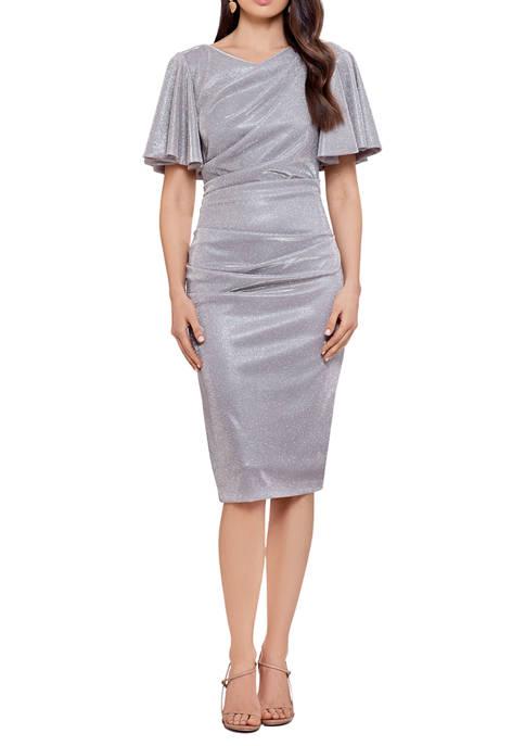 Womens Flutter Sleeve Ruched Metallic Sheath Dress