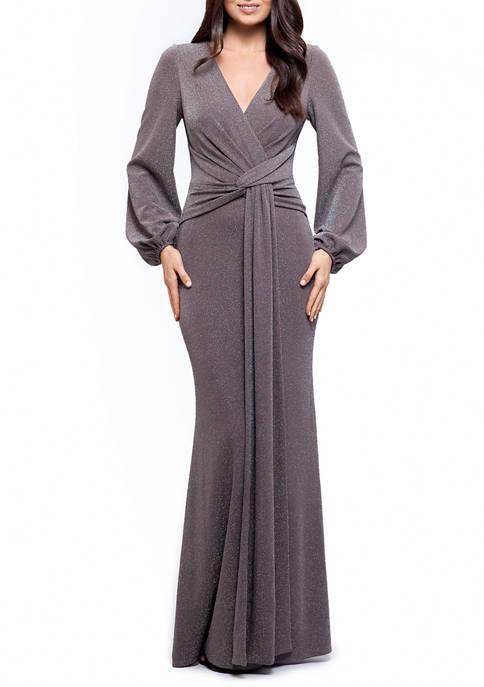 Womens Blouson Sleeve Wrap Glitter Knit Gown