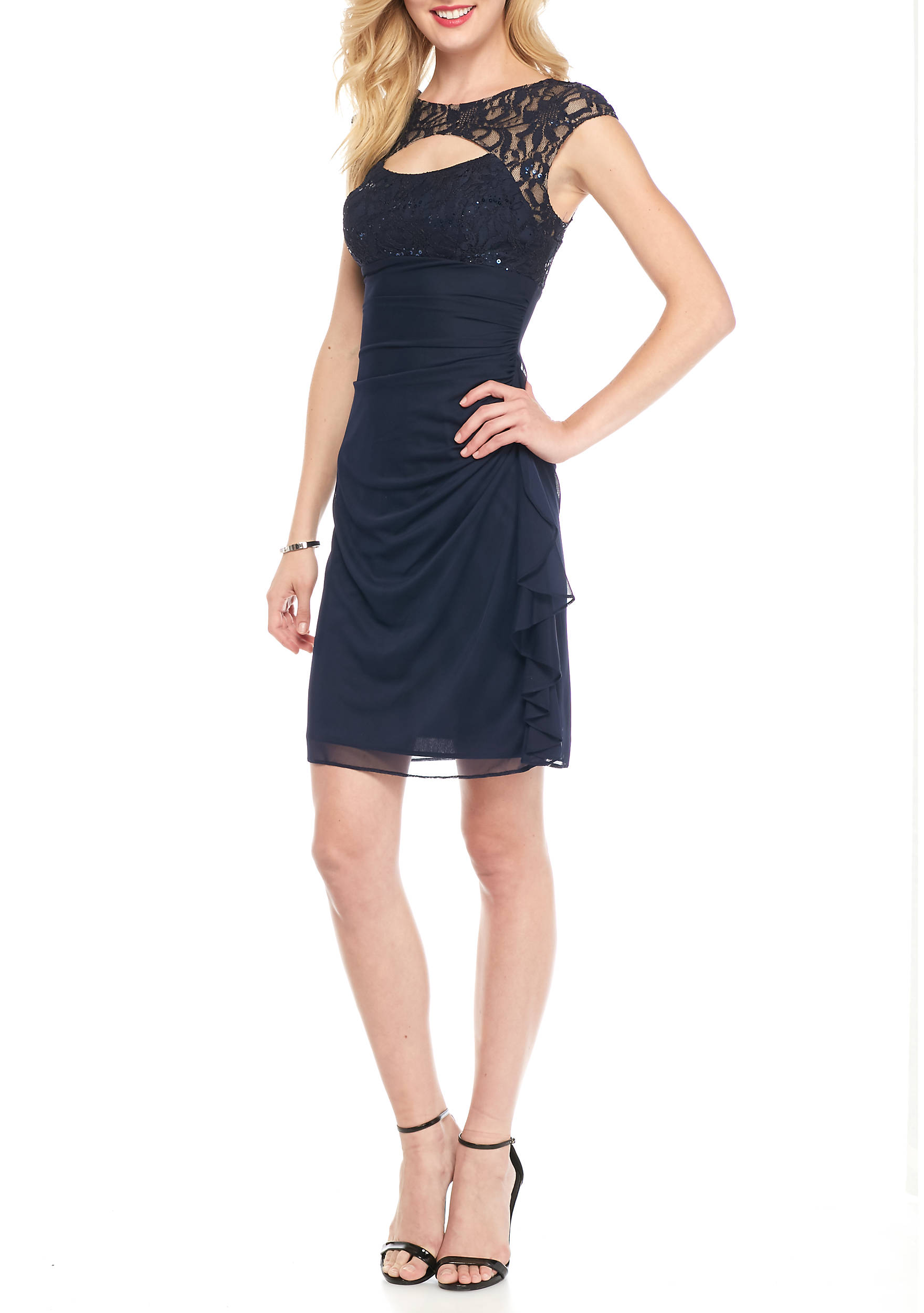 Betsy & Adam Lace and Sequin Cutout Bodice Cocktail Dress   belk