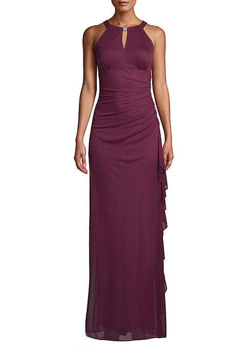 Betsy & Adam Sleeveless Side Ruched Gown