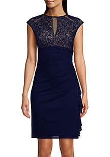 Betsy & Adam Cap Sleeve Embroidered Mesh Short Dress