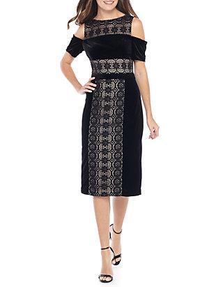bcf9c8d7 Maggy London. Maggy London Cold Shoulder Velvet Lace Midi Sheath Dress