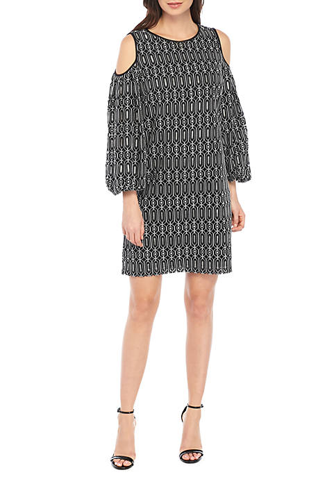 Maggy London Lace Balloon Sleeve Shift Dress