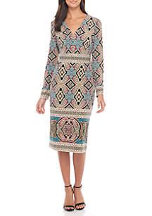 Long Sleeve V-Neck Printed Sheath Dress