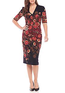 Three-Quarter Sleeve V-Neck Sheath Dress
