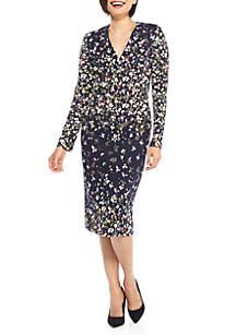 Long Sleeve V-Neck Sheath Dress